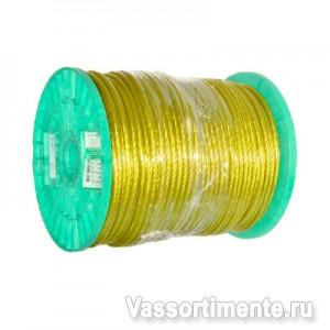 Трос в ПВХ 3/1,8 мм металлополимерный ПР-3.0 желтый